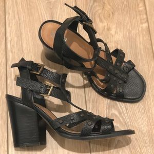Renvy Black Wedge with Side Buckles and Buttons